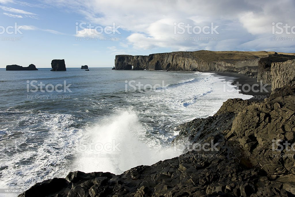 Dyrholaey at Iceland. stock photo