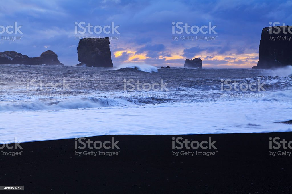Dyrholaey beach at sunset stock photo