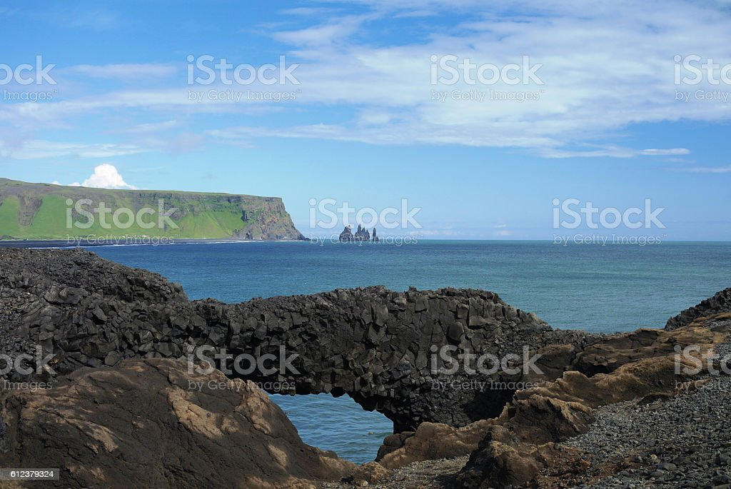 Dyrholaey cape, natural stone arch stock photo