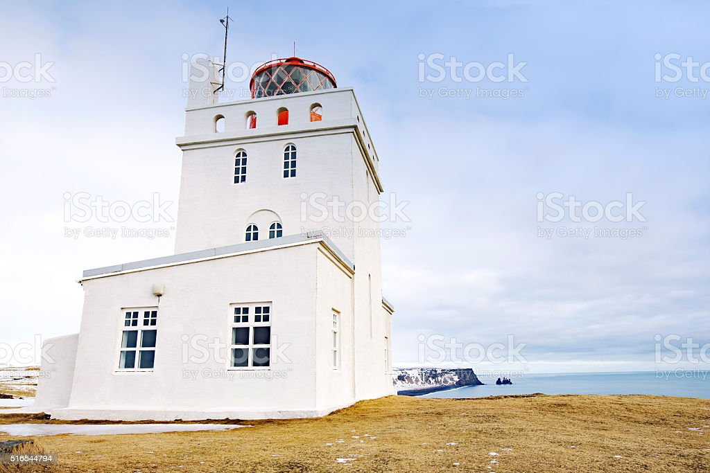 Dyrholaey lighthouse near Vik in southern Iceland stock photo