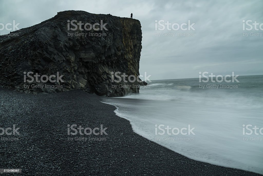 Dyrholaey rock cliff stock photo