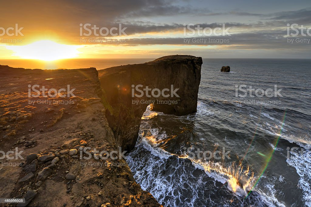Dyrholaey Sea Rock Arch, Iceland stock photo
