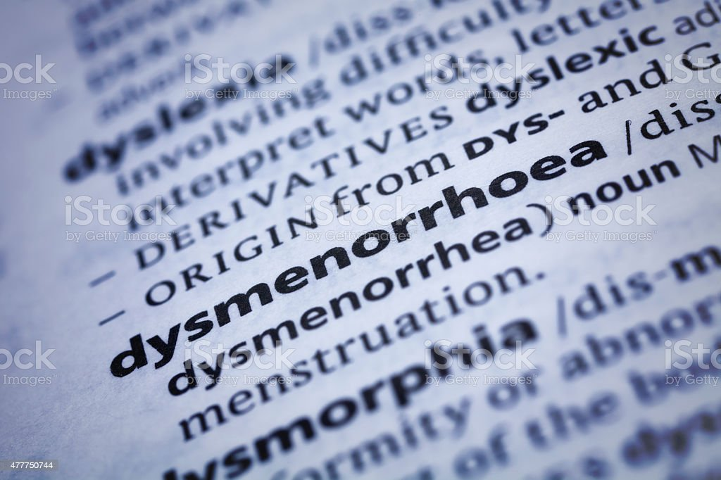 Dysmenorrhoea: Dictionary Close-up stock photo