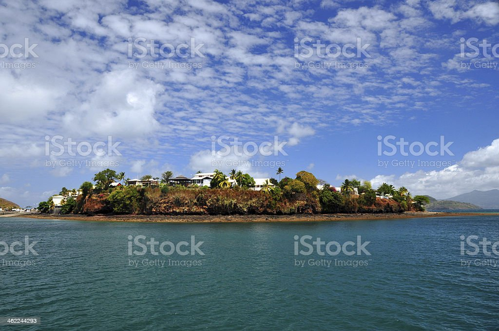 Dzaoudzi, Mayotte: Le Rocher seen from the Ocean stock photo