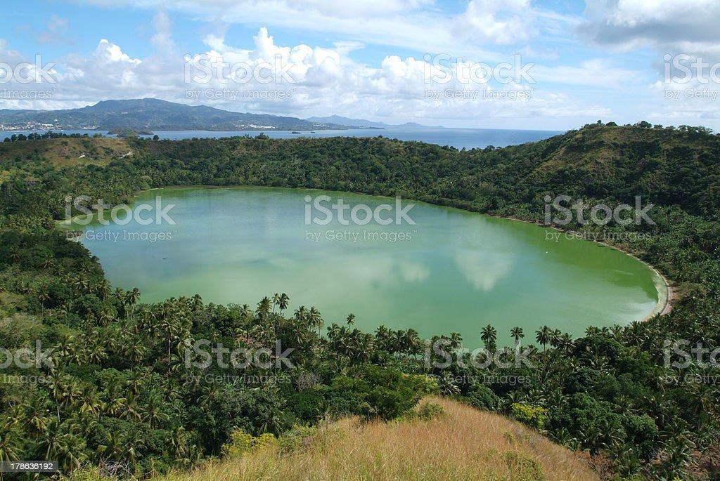 Dziani volcano lake at Mayotte island stock photo