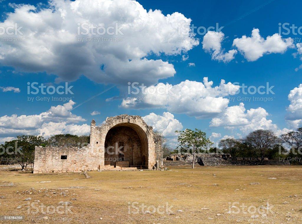 Dzibilchaltun Mayan and colonial ruins, Yucatan, Mexico stock photo