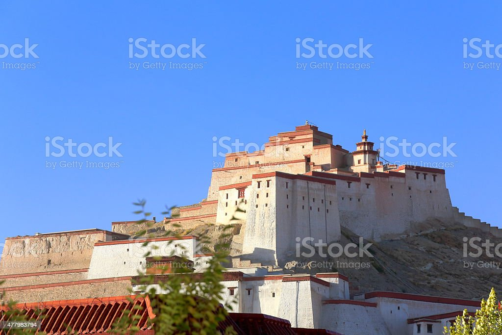 Dzong or fort of Gyantse-Tibet. 1573 stock photo