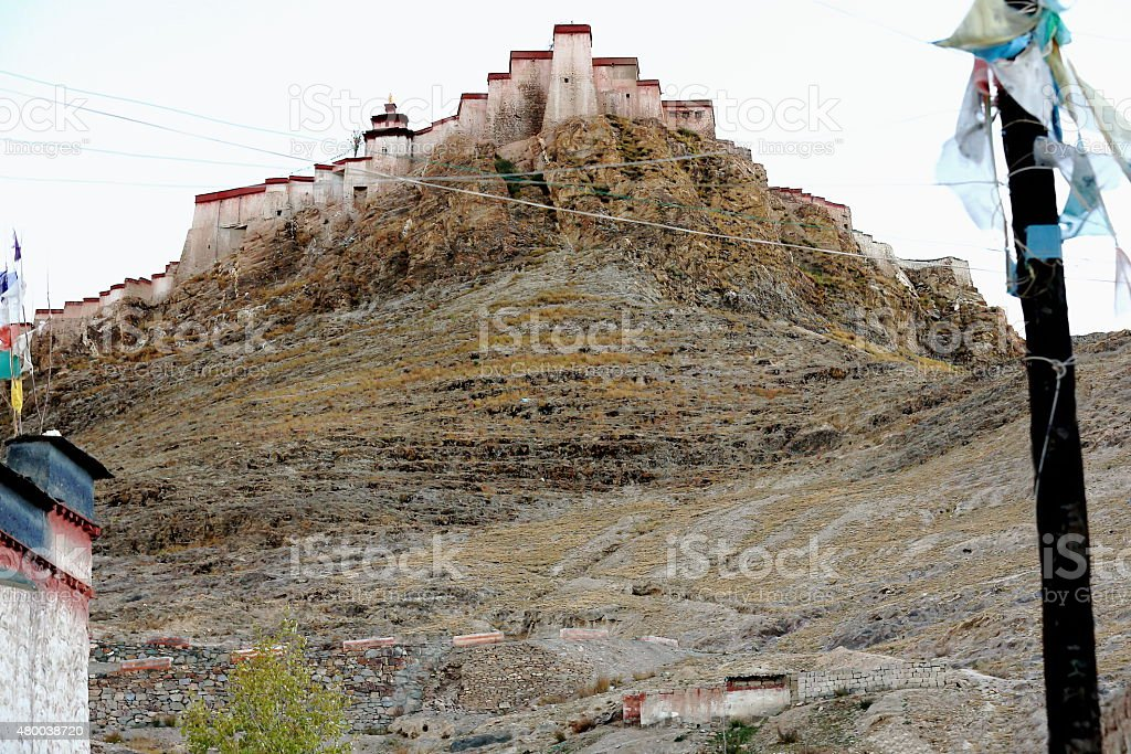 Dzong or fort of Gyantse-Tibet. 1613 stock photo