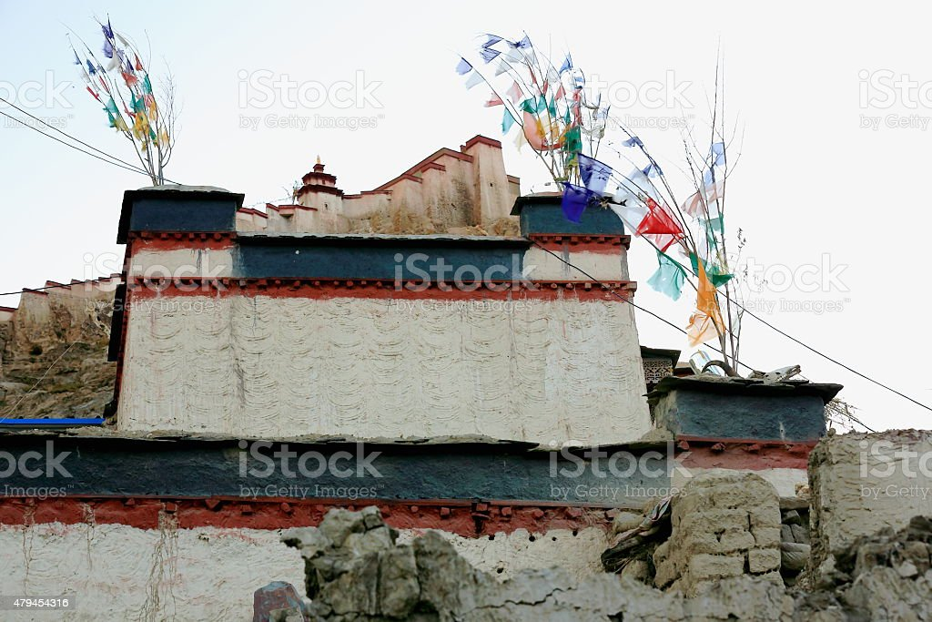 Dzong-fortress seen over townhouse. Gyantse-Tibet. 1608 stock photo