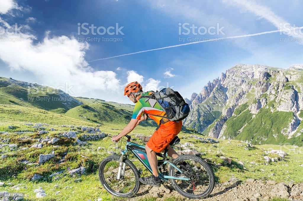 e bike rider mountain trail stock photo