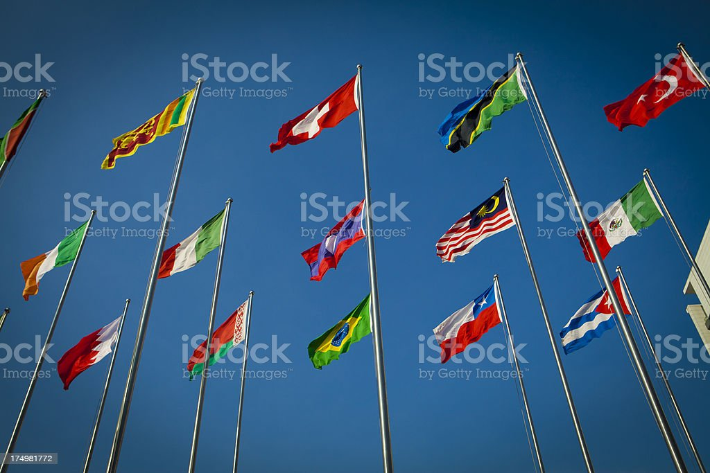 Each flag flying royalty-free stock photo