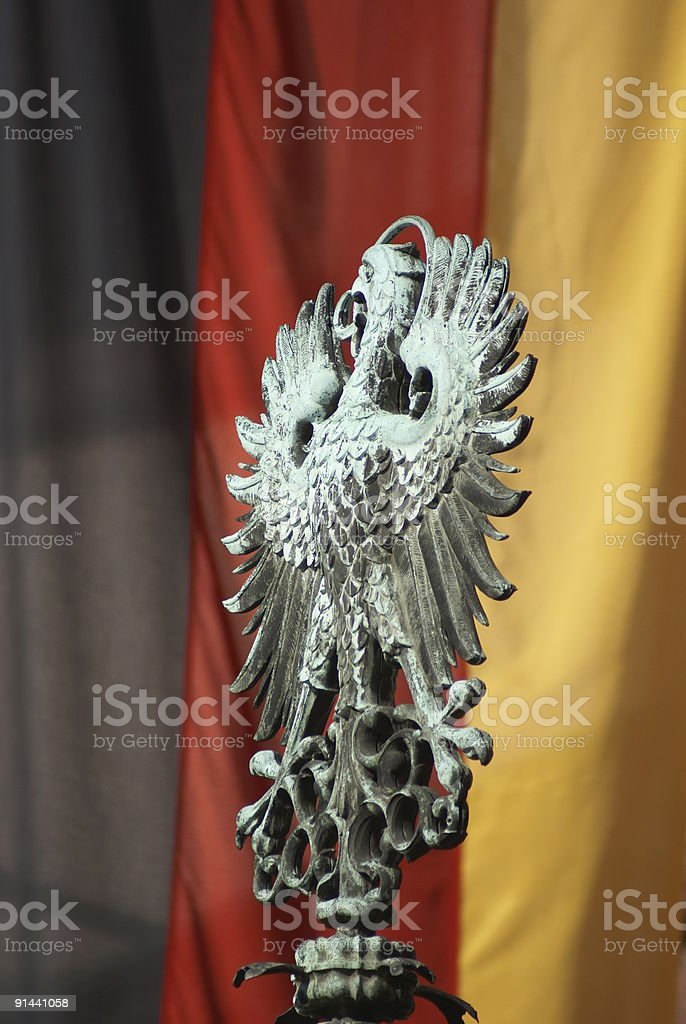 Eagle and German flag royalty-free stock photo