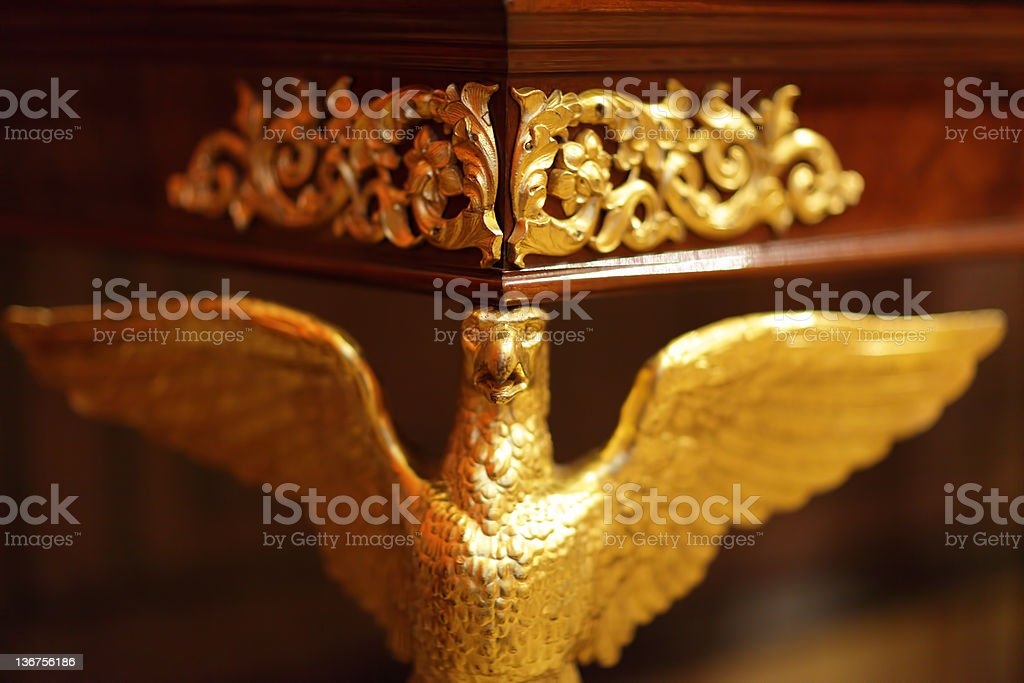 Eagle as decoration of table stock photo