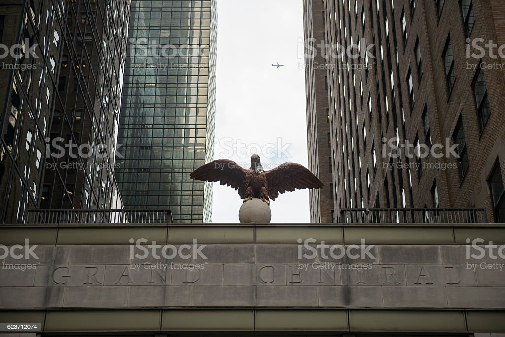 Eagle at Grand Central Terminal in New York City stock photo