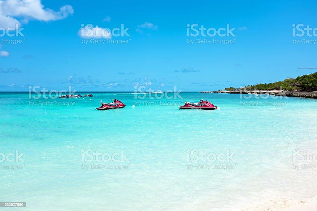 Eagle beach on Aruba island in the Caribbean stock photo