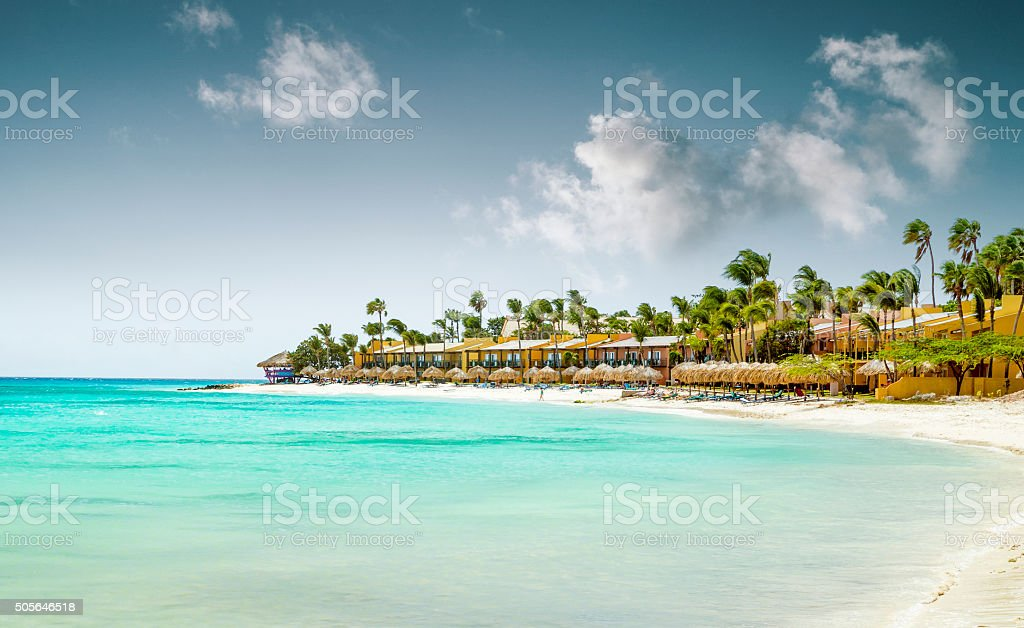 Eagle Beach on Aruba island stock photo