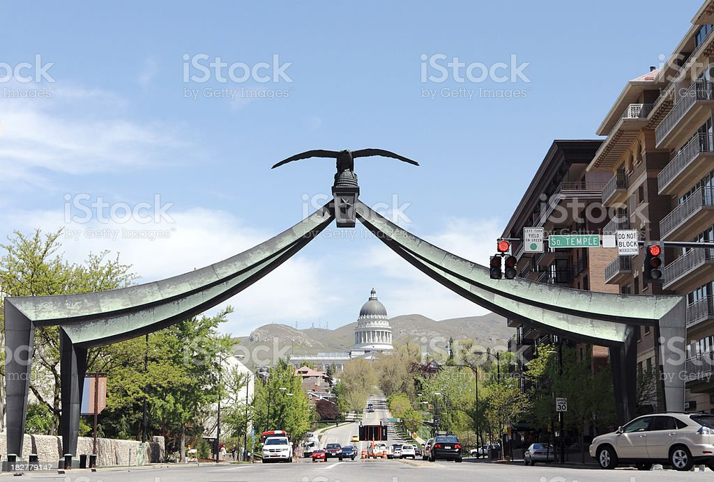 Eagle Gate and State Capital stock photo