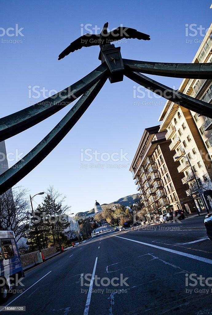 Eagle Gate and Utah State Capital stock photo