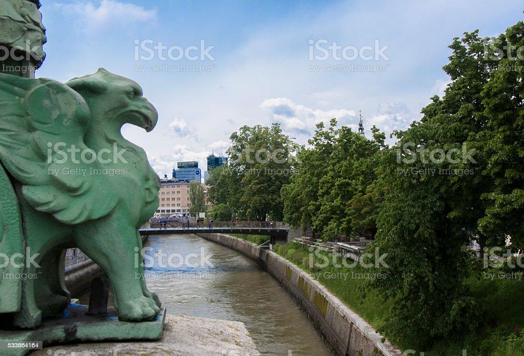 Eagle guarding the city stock photo
