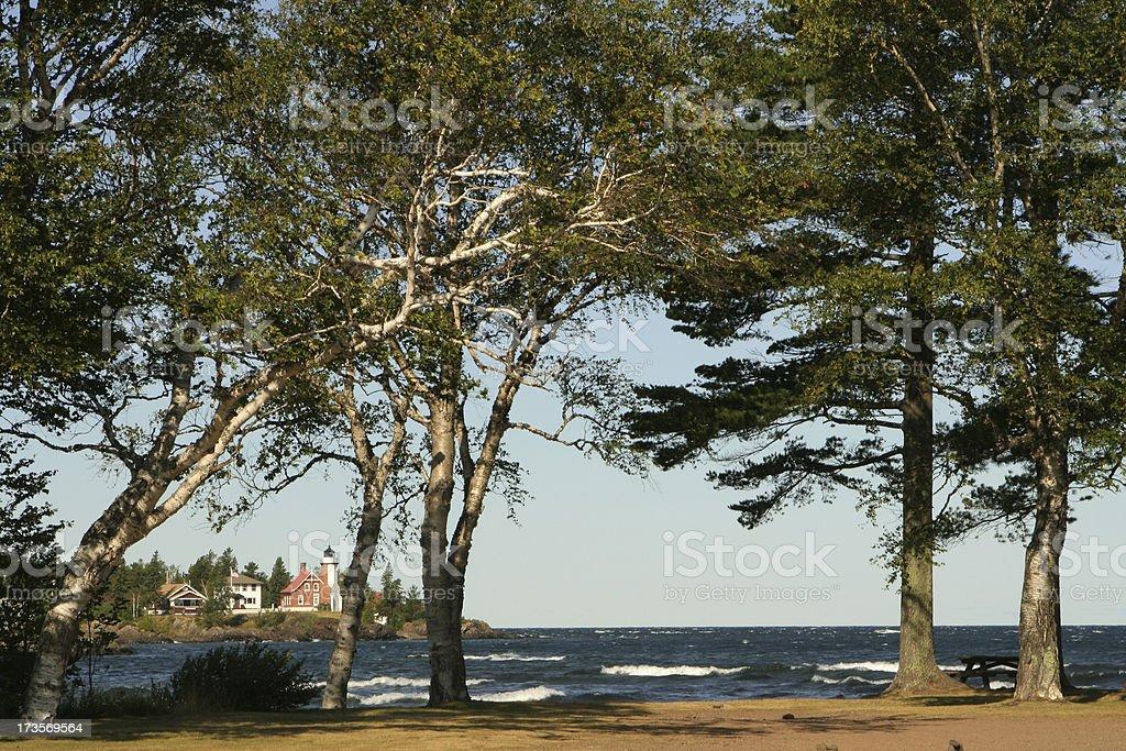 Eagle Harbor Bay and Lighthouse stock photo