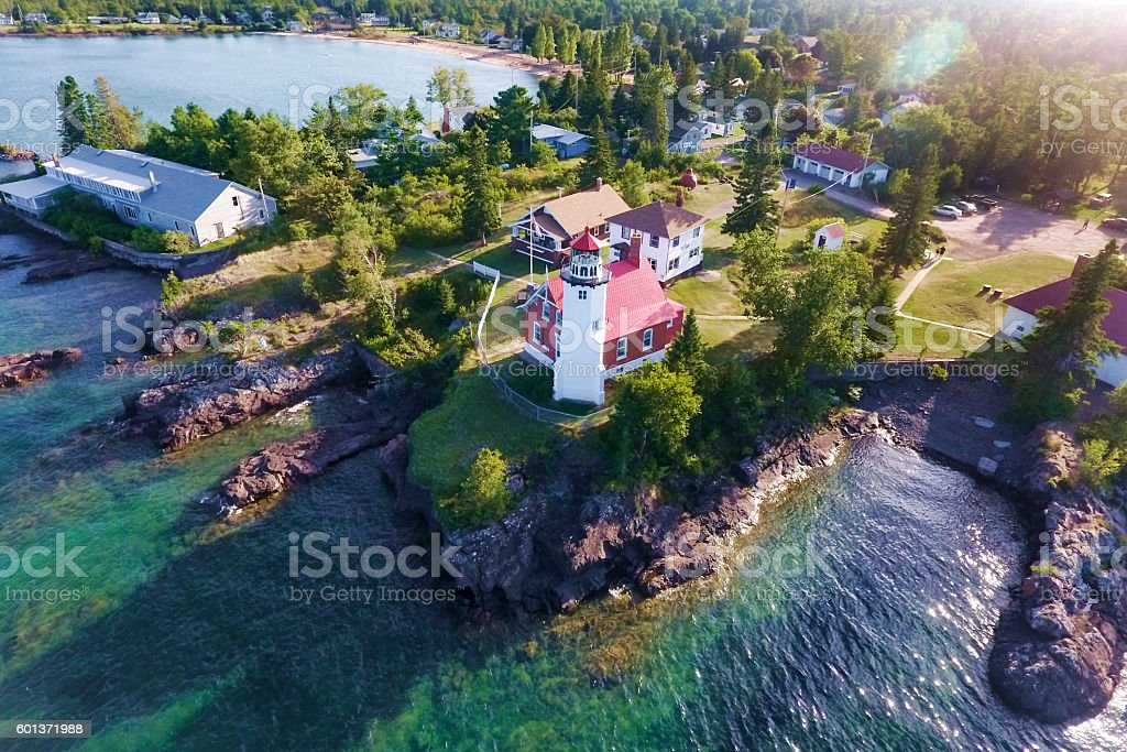 Eagle Harbor lighthouse in Michigan's Keweenaw peninsula stock photo