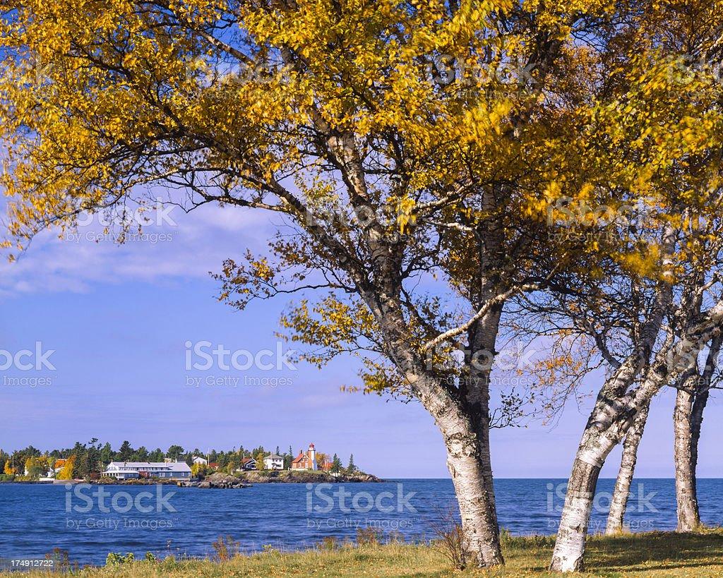 Eagle Harbor Michigan, and Lake Superior - autumn foliage stock photo