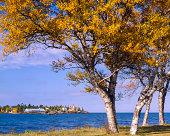 Eagle Harbor Michigan, and Lake Superior - autumn foliage