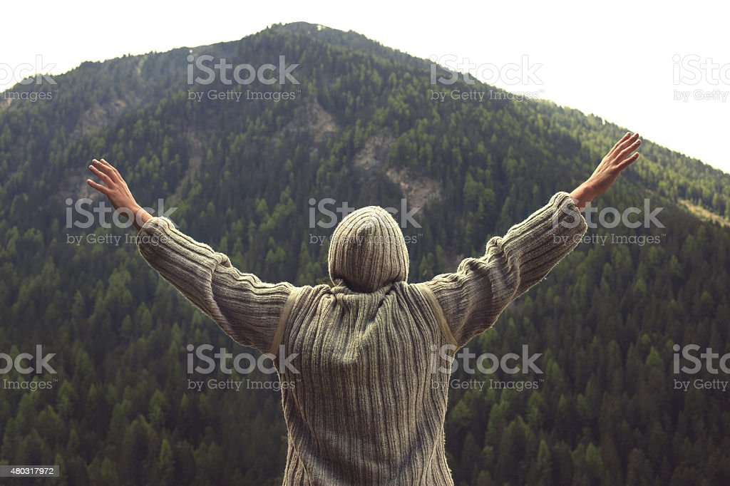eagle man flying to the top stock photo
