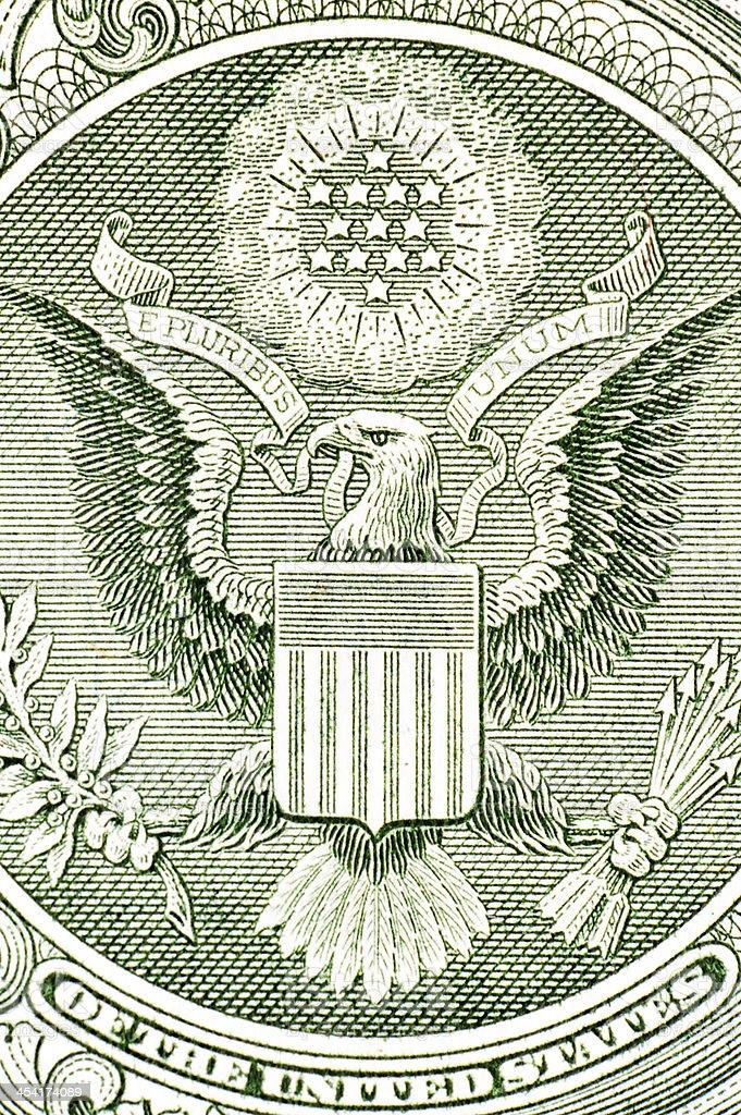 Eagle on the dollar bill, macro stock photo