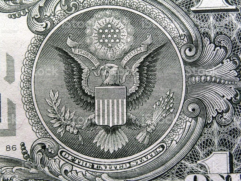 Eagle On US Dollar Bill royalty-free stock photo