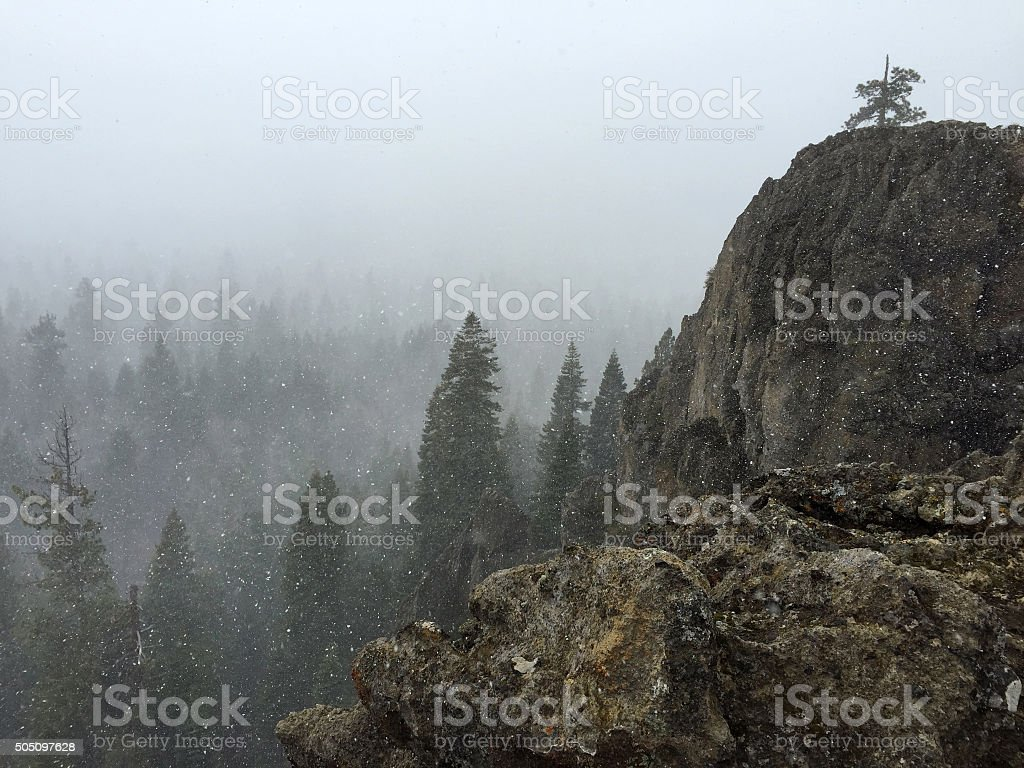 Eagle Rock in a Snowstorm royalty-free stock photo