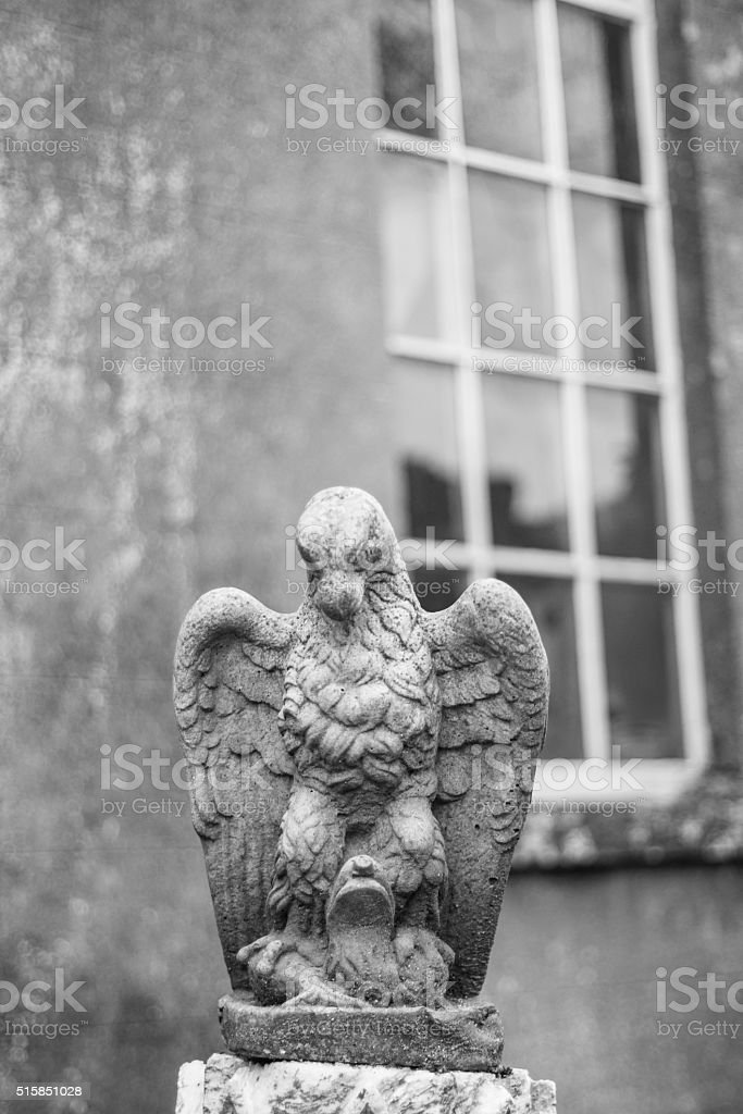 Eagle Statue (B&W) at Leap Castle, Co Offaly,  Ireland stock photo