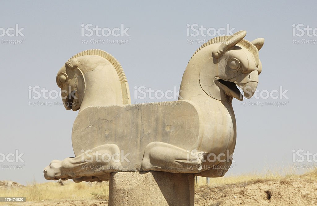Eagle statue in Persepolis (Iran) stock photo