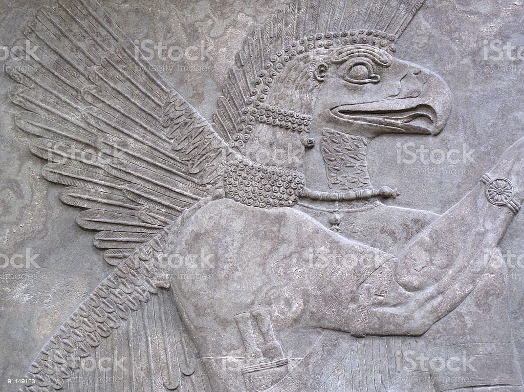 Eagle-Headed Protective Spirit Relief 865-860 BC stock photo