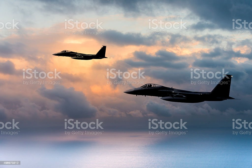 F-15 Eagles at sunset stock photo