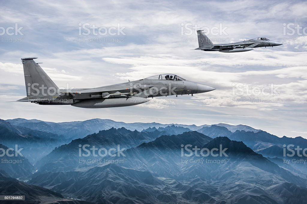 F-15 Eagles in Flight stock photo