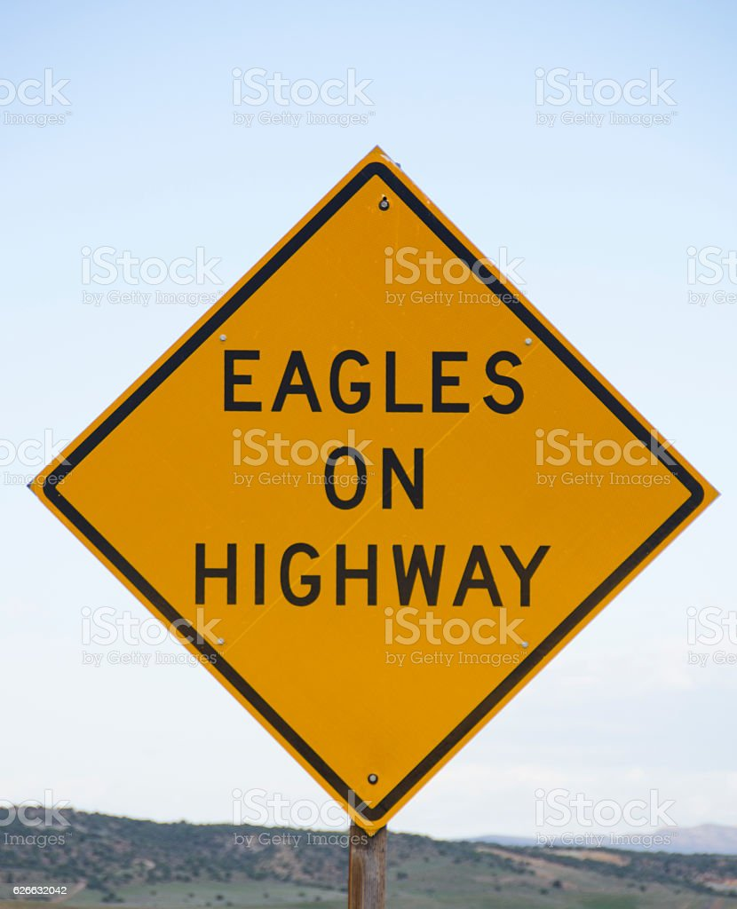 Eagles on Highway Warning Sign stock photo