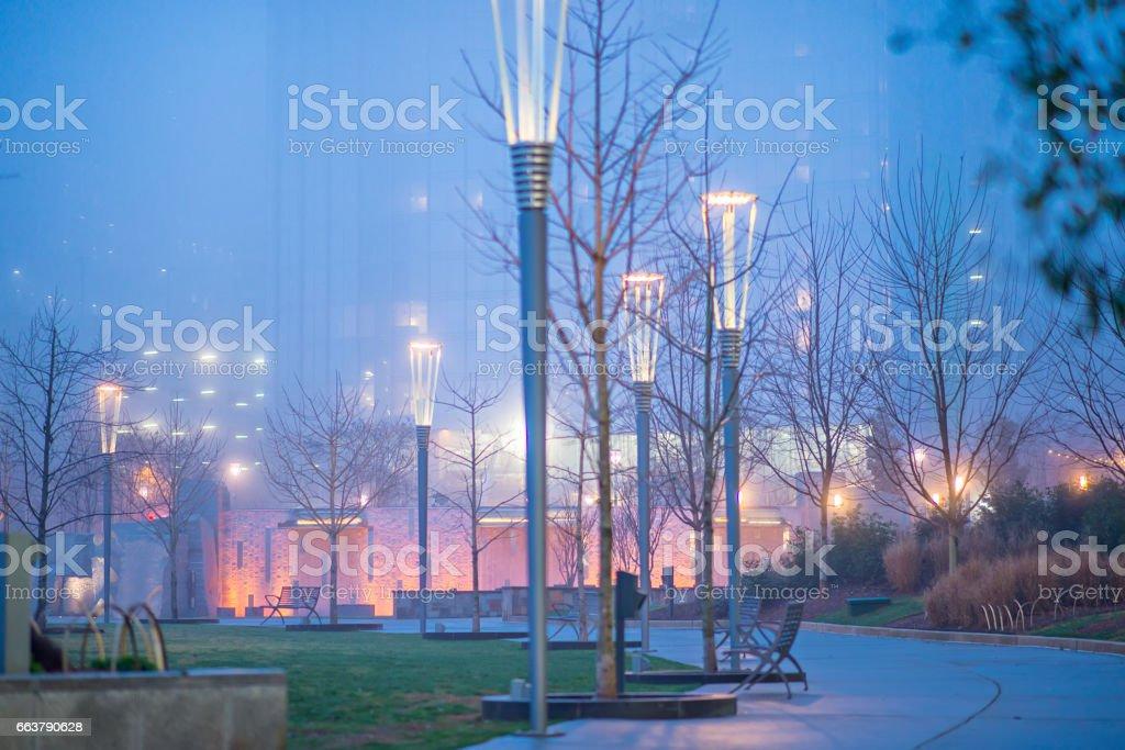 ealry morning fog on city streets stock photo