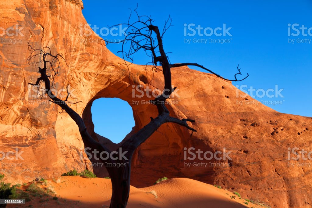 Ear of the Wind Arch in Monument Valley, Arizona, USA stock photo