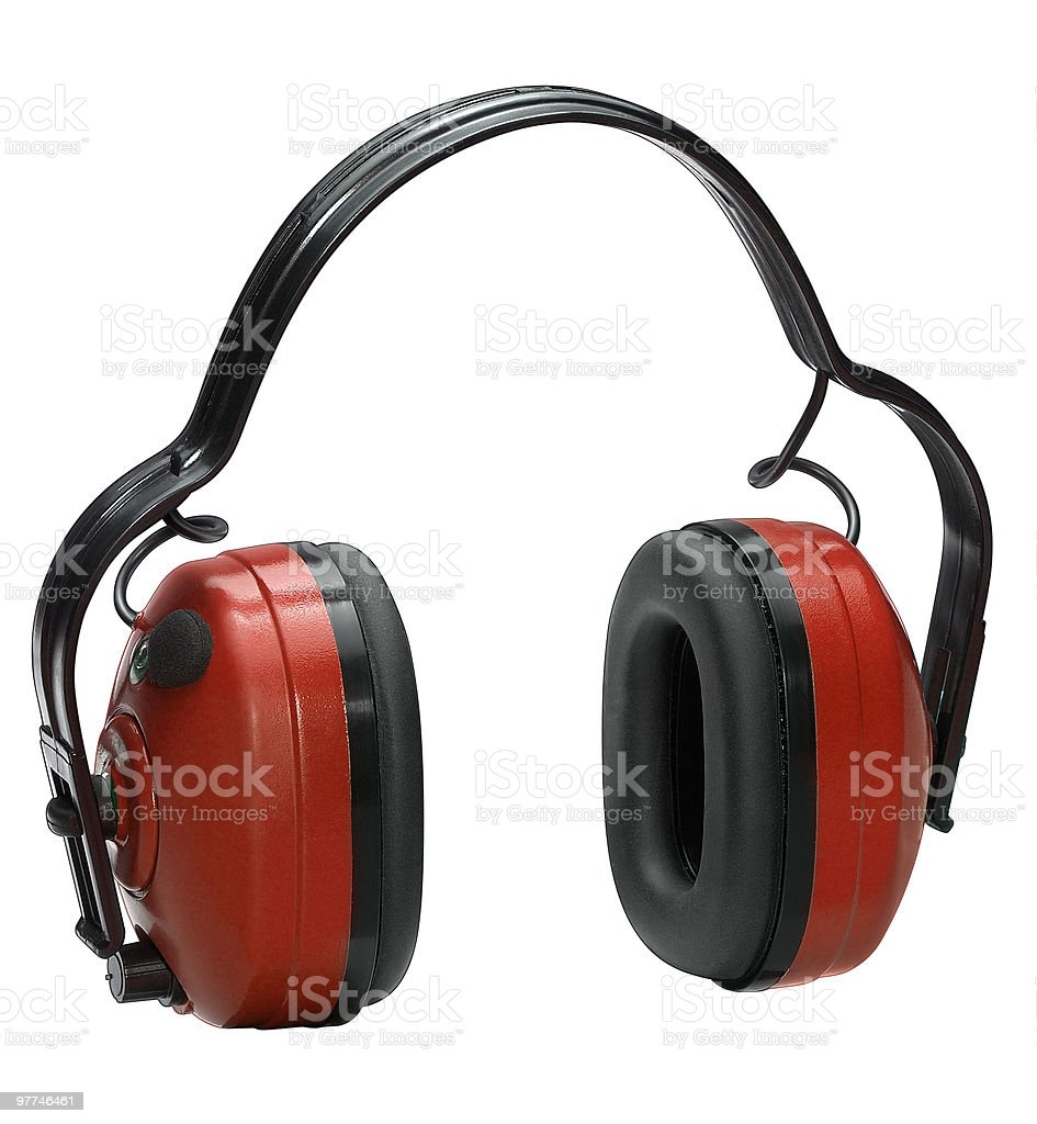 Ear phones used to protect while working stock photo