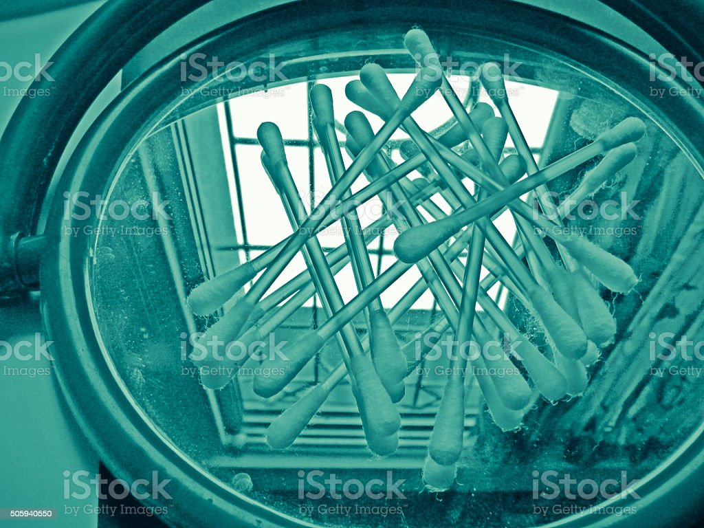 Ear sticks with cotton buds stock photo