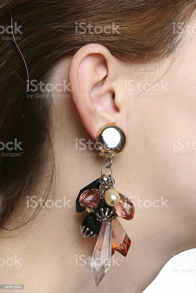 Ear with earring royalty-free stock photo
