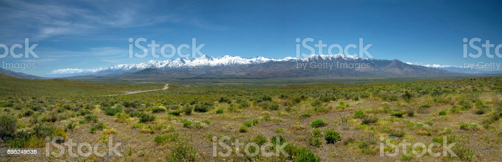 Earern Sierra spring panorama stock photo