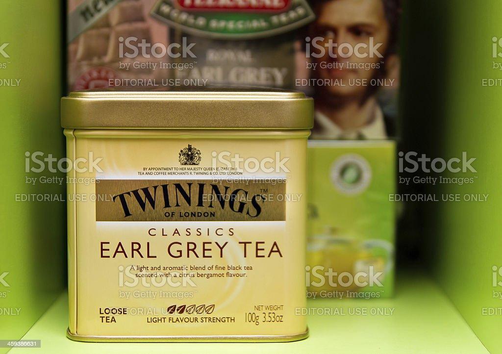 Earl Grey Tea boxes stock photo