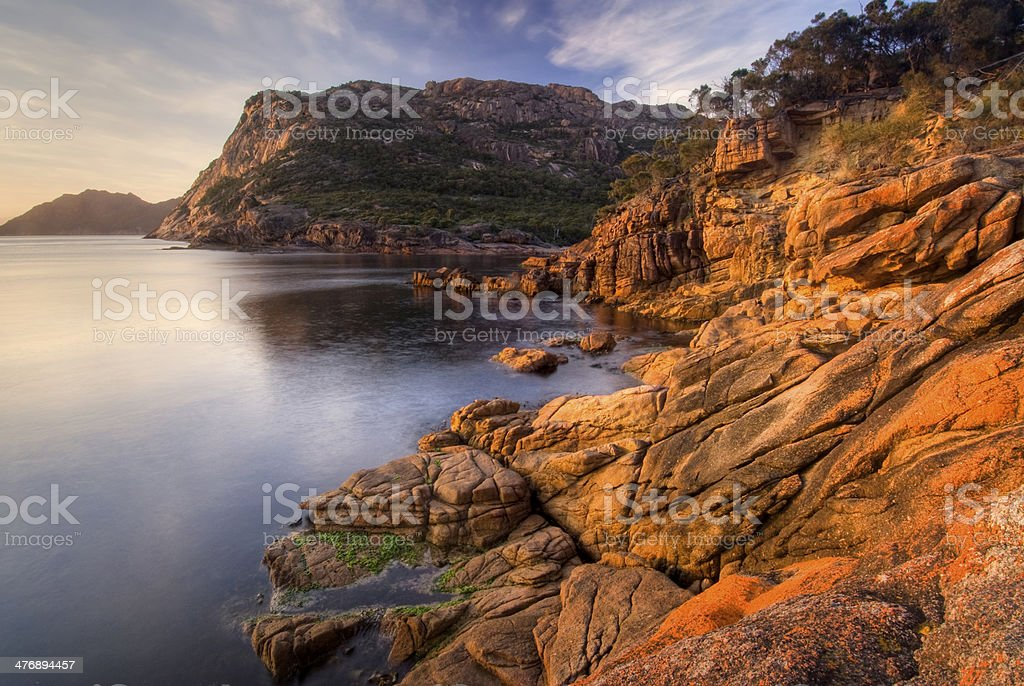 Earlier morning at Sleepy Bay, Freycinet National Park, Tasmania, Australia stock photo