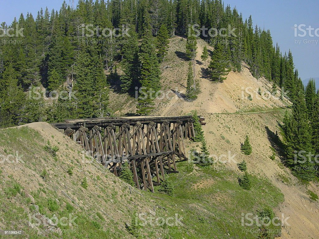 Early 1900s railroad trestle. stock photo