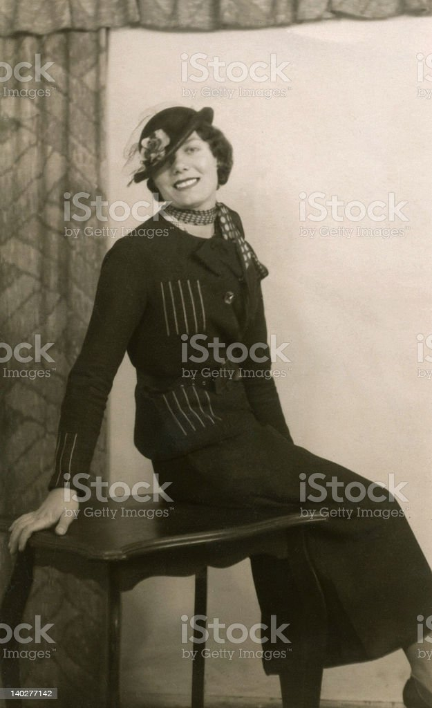 Early 1900's Vintage Photo of Posing Lady stock photo