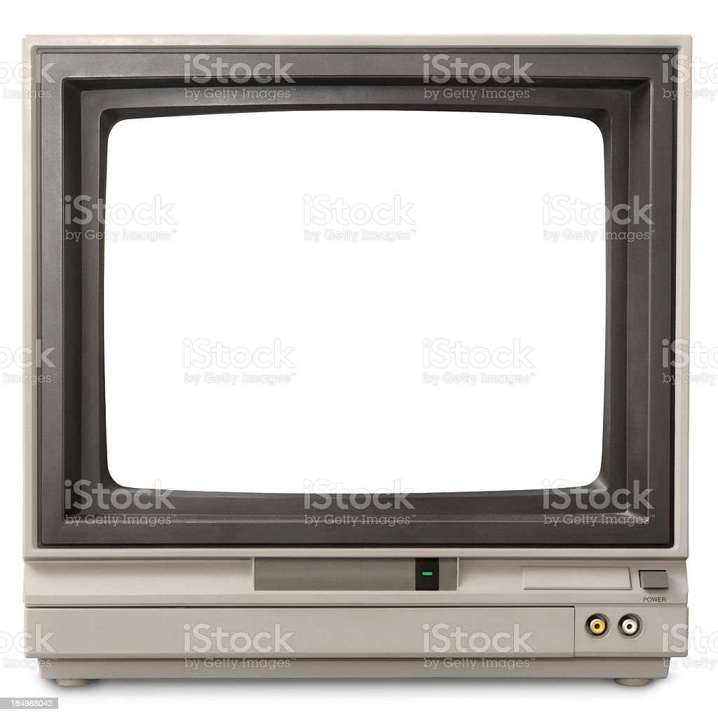 Early 1980s blank computer screen looks like early TV set stock photo