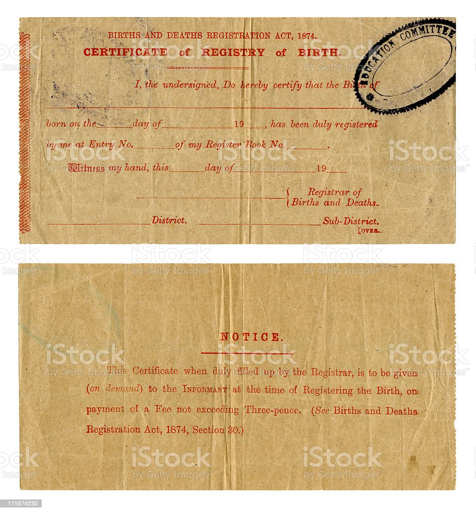 Early 20th century British Birth Certificate stock photo