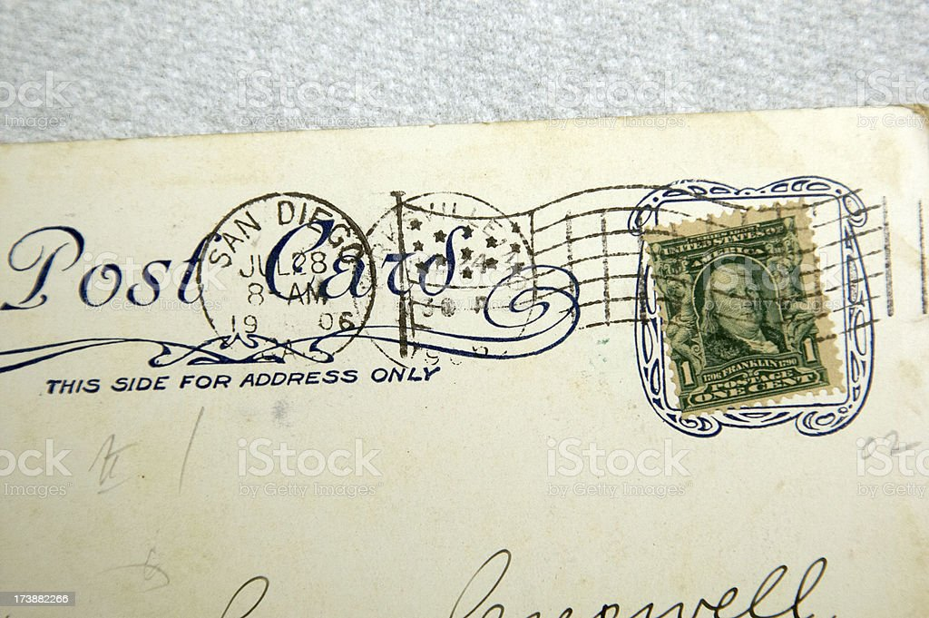 Early 20th Century postcards and stamps stock photo
